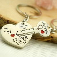 Alloy Silver Plated I Love You Heart Keychain Key Ring for Lover Valentine's Day(One Pair)
