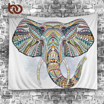 BeddingOutlet Elephant Tapestry Wall Hanging Animal Wall Carpet Twin Hippie Tapestry Bohemian Hippy Home Decor Bedspread Sheet