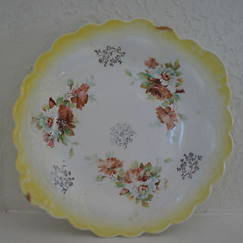 Vintage Serving Dish Hand Painted Fine China with Floral Designs Yellow Rim Platter