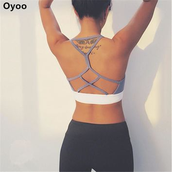 Oyoo double line push up sport bra cute grey strappy bralette sexy wireless underwear women gym crop top padded bras for yoga
