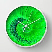 Green Gerbera Spiral Wall Clock by Karl Wilson Photography