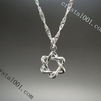 Delicate david star necklace 925 sterling silver necklace dainty silver necklace