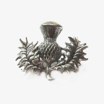 Vintaege Scottish Thistle Brooch, Silver Metal Pin