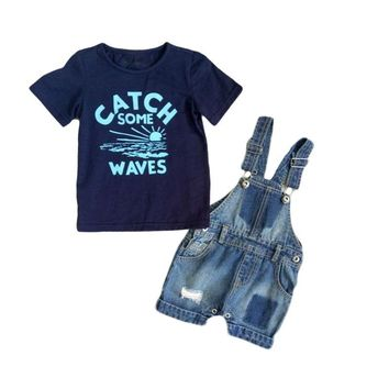Trendy Baby Boy Clothes Sets Boys Denim Suspender Pants 2pcs Newborn Boy Clothes Infant Summer Boys Letter Printed T Shirt+Braces Jeans AT_94_13