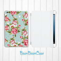iPad mini new iPad mini retina 2 case, iPad Air case, mint blue vintage floral rose flower, back hard cover with smart cover (E06)