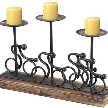 """0-013046>10""""h Abstract Cyclist Candle Holders Rusted Pewter"""