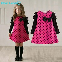 New children clothing girls polka dot dress long-sleeve kids girls princess dress kids clothes