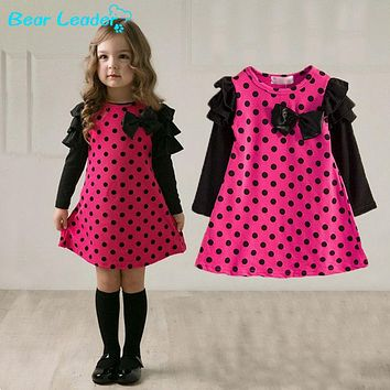 Toddler Girls Polka Dot Long Sleeve Dress