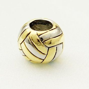 Volleyball New Silver Charm Big Hole Sport Charm Bead For European Bracelet
