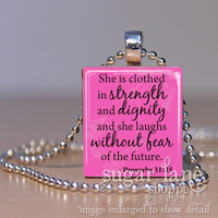 Bible Verse Scripture Necklace - (SA6 -Pink, Black - She is Clothed in Strength - Proverbs 31:25) - Scrabble Tile Pendant with Chain