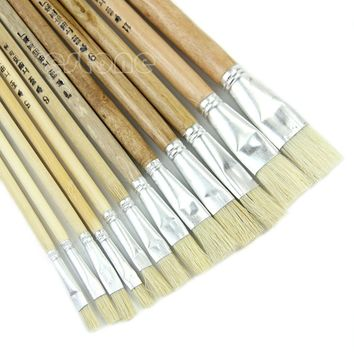 New 12 Paint Brush Set for Oil Watercolor Acrylic Art Craft Artist Painting
