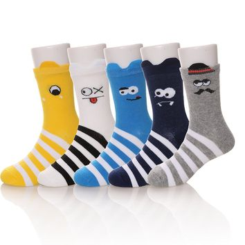 5 Pairs Fashion Cute Animal Cartoon Patterned Children Cotton Crew Socks
