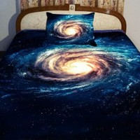 Anlye Bule Teen Bedding Set 2 Sides Printing Blue Nebula Quilt Cover Sets Nebula Swirl Bed Linen Sheets with 2 Swirl Nebula Pillow Covers King
