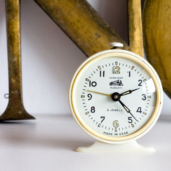 Desk Clock, Alarm Clock, Cream White Soviet Clock, Analog Clock, Home Decor, Office Decor, Wedding, Gold, ohtteam