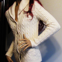 vintage ivory Ralph Lauren cable knit, button down cardigan.  size S. back to school.  fall fashion