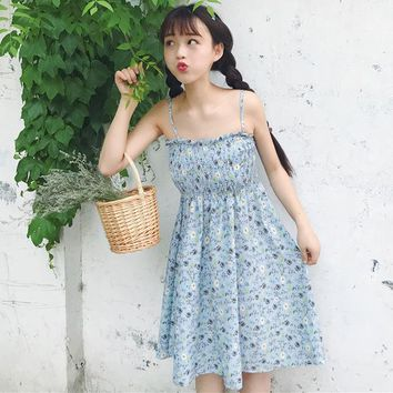 Summer Dress for summer Japanese soft sister sweet high waist thin chiffon floral sleeveless Vadim plus size Harajuku Dresses