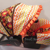 Autumn-Orange and Yellow Chevron/Floral and Orange Minky Fabric Infant car seat cover 5 piece set