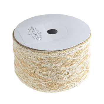 Faux Burlap Ribbon Lace Overlay, 2-1/2-Inch, 10 Yards, Ivory