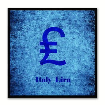 Italy Lira Money Currency Blue Canvas Print with Black Picture Frame Home Decor Wall Art Collection Gifts