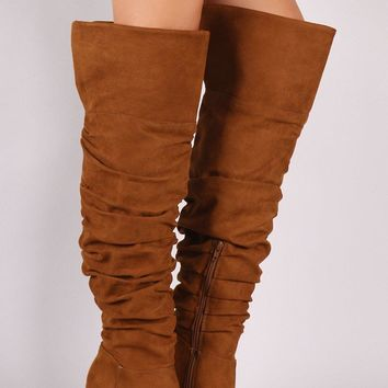 Suede Slouchy Cuffed Over the Knee Boots