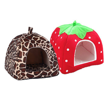 Pet House Foldable Soft Winter Leopard Dog Bed Strawberry Cave Dog House Cute
