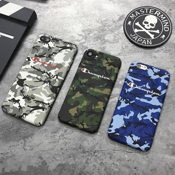 Champion Brand Luminous Camouflage Matte Hard Plastic PC phone Case for iPhone 6s 6 Plus 7 8 X Japan fashion cover Fundas coque