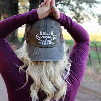 Rifles, Racks and Deer Tracks Trucker Hat - 2 Colors