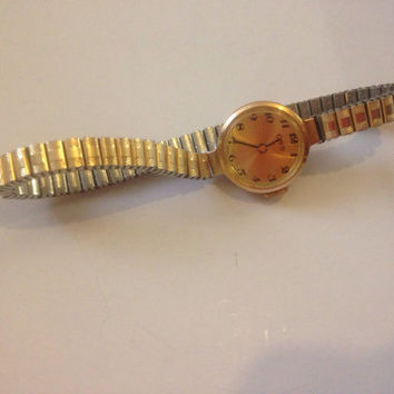 Vintage Gold plated stretch wristband Swiss made Oris watch