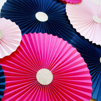Wedding Backdrop - Paper Rosettes - Paper Pinwheels - Paper Fans - Navy Wall Backdrop - Hot Pink Bridal Shower - Navy and Pink Wedding