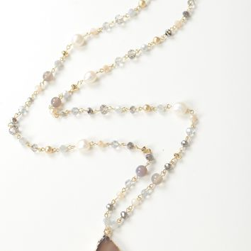 Beaded Chain Stone Necklace Gold/ Grey