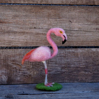 Felted Flamingo Needle Felted Bird Pink Flamingo Pink bird Animal sculpture Woolen figurine Tropical Bird Flamingo