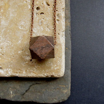 Wooden Brown Necklace, Geometric Necklace, Add on a Hand stamped Initial Letter of your Choice, Personalized.