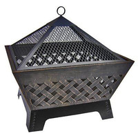 "Outdoor Fire Pit Cover 26"" Wood Friends Patio Bronze Garden Yard Burning Decor"