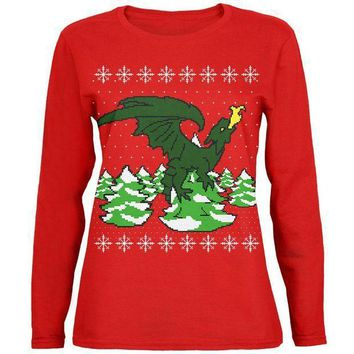 PEAPGQ9 Ugly Christmas Sweater Dragon Winter Womens Long Sleeve T Shirt