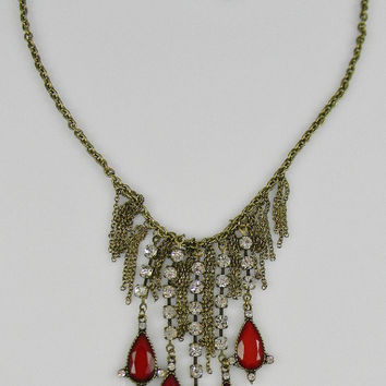 Anthropologie-Inspired Deep Red  Dripping Raindrops and Rhinestone Fringe and Chain Tassel STATEMENT Necklace