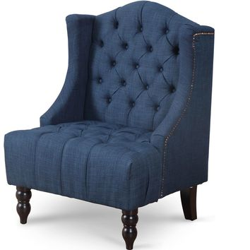 Giantex Modern Living Room Furniture Tall Wingback Tufted Accent Armchair Fabric Vintage Chair Nailhead Sofa Chairs HW57313NY