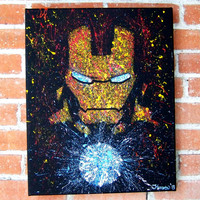 Iron Man of Marvel Comics Avengers Acrylic on Canvas Splatter Minimalist Portrait