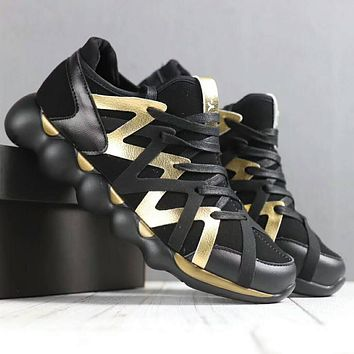 ADIDAS Y-3 Men Fashion Casual Running Sport Casual Shoes Sneakers Black+Golden G-SSRS-CJZX
