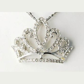 Princess Tiara Girl Birthday Crown Clear Crystal Rhinestone Pendant Necklace