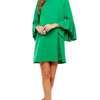 Cascading Bell Sleeve Shift Dress