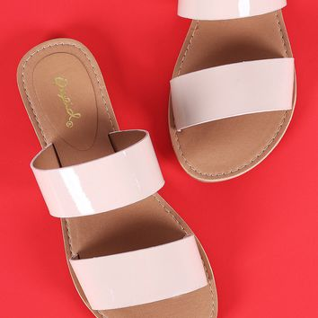 Qupid Patent Double Band Slide Flat Sandals
