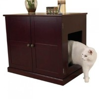 Meow Town MDF Litter Box Cat Cabinet, Mahogany