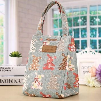 Girl Kids Animal Rabbit Lunch Bag Ladies Portable Insulated Cooler Bags Thermal Food Picnic Women Men Canvas Lunch Box Bag Tote