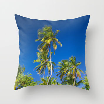 Coconut Palms on Tropical Island Throw Pillow by Cinema4design