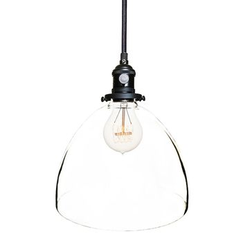 Clear Blown Glass Bell Socket Pendant Light- Black