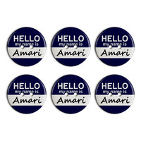 Amari Hello My Name Is Plastic Resin Button Set of 6