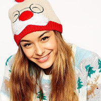 Color Block Father Christmas Design Pom Knit Beanie Hat
