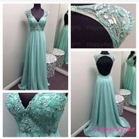 Cap Sleeve Chiffon Crystal Turquoise Prom Dress/ Beaded Long Backless Prom Dress/ Fashion Evening Dress 2014