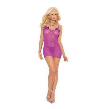MESH DRESS W/BOWS & G-STRING