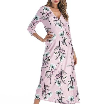 V Neck Printed Long Dress